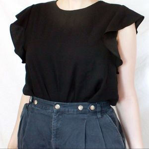 Babaton black frilly sleeve top L from Aritzia